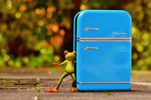 Picture of a blue rustic fridge