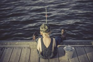 a boy fishing
