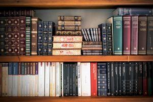 Stacks of books on a wooden bookshelf