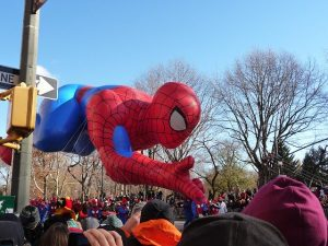Celebrating Thanksgiving in NYC - A spiderman helium balloon