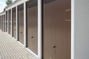 Storage units with brown doors